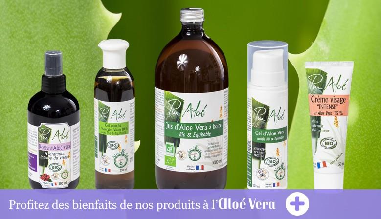 Découvrez nos cosmétiques et fortifiants à l'Aloé Vera bio.