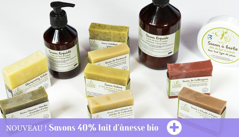 Gamme de savons 40% lait d'ânesse bio et frais