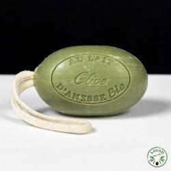 Savon corde au lait d'ânesse bio - Olive - 200 gr
