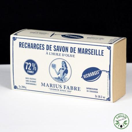 2 Recharges savon rotatif 290g Marius Fabre pour porte savon mural