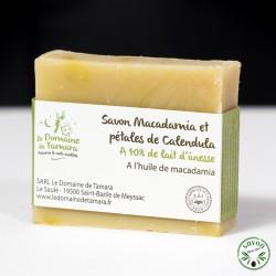 Savon 40% lait d'ânesse frais et bio - Macadamia et pétales calendula - 90 gr