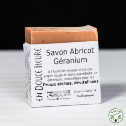 Savon Abricot Géranium certifié bio par Nature & Progrès - 100g