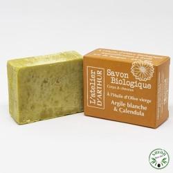 Savon à l'huile d'olive Bio - Argile blanche & Calendula