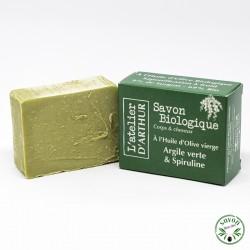 Savon à l'huile d'olive Bio - Argile verte & Spiruline