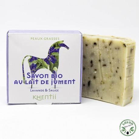 Savon 40% lait de jument frais et bio - Lavande & Sauge - Peau grasse